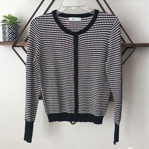 Zara Knit Cardigan Sweater Black and White Dot